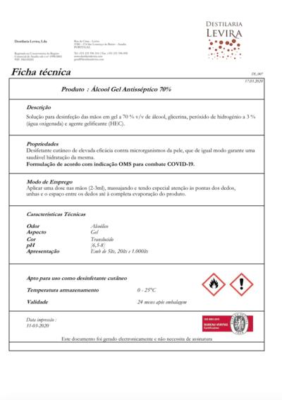 certificado alcool gel