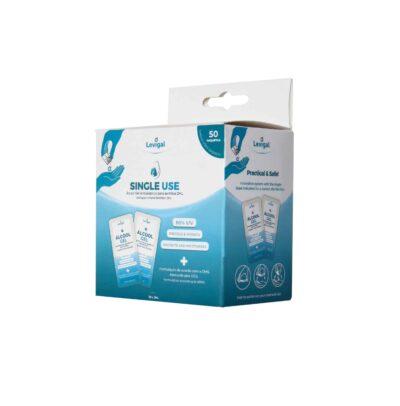 Caixa de Álcool Gel antisséptico em saquetas individuais. Unidoses de desinfetante para as mãos